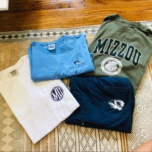 BUNDLE of 4 MIZZOU short/long sleeve t-shirt's